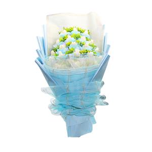 鲜花/爱的信念: 20朵白玫瑰独立精美包装  [包 装]:金色