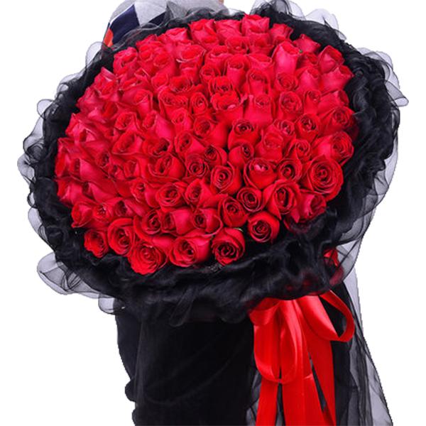 鮮花/真愛永恒:99枝A級紅玫瑰高級花束 花 語:對你的愛天長地久