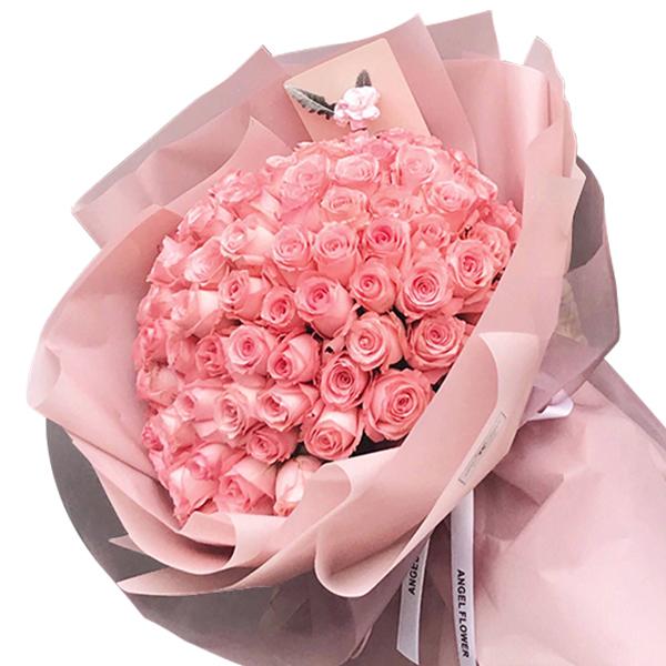 鮮花/就要愛:99枝精品粉玫瑰韓式包裝 花 語:永遠的愛,銘記于