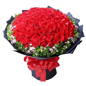 鲜花/浓情爱恋:66朵红玫瑰,相思梅,叶上黄金点缀 花 语:与你相