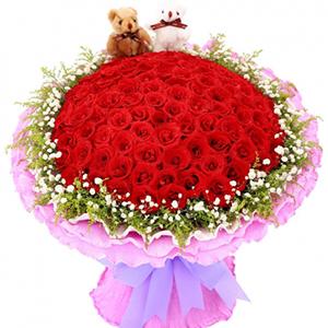 鲜花/浪漫无限:99朵红玫瑰,黄莺,满天星丰满围边,2只小熊 花