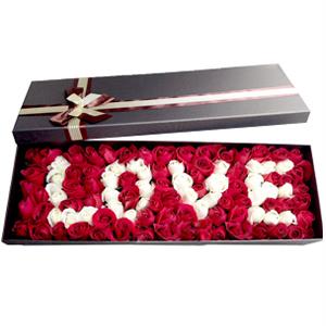 鲜花/我爱你: 99枝玫瑰,LOVE造型  [包 装]:高档
