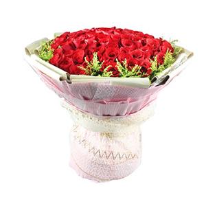 鲜花/一路都有你:99枝红玫瑰 配材:黄莺围边 花 语:一路有你,幸