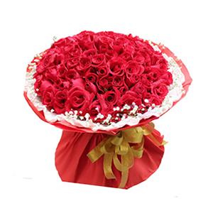 鲜花/你最特别:99枝红玫瑰  包 装:内衬白色卷边纸,外围红色瓦
