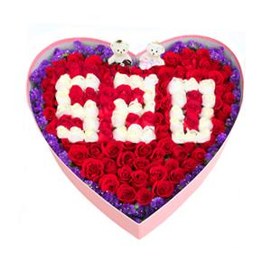 鲜花/爱你每一天: 66支红玫瑰+33支白玫瑰+可爱小熊  [包