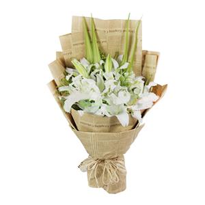 鲜花/甜蜜回忆: 6枝多头香水白百合  [包 装]:高级复古英