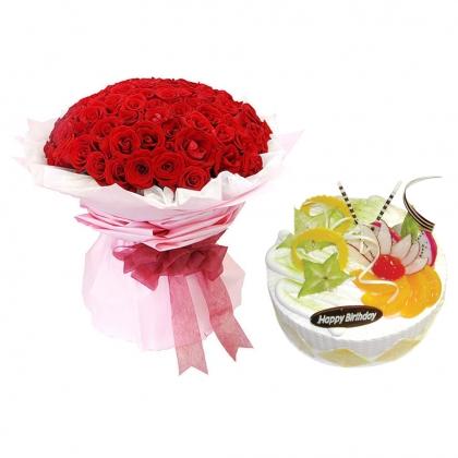 浪漫組合/真愛無言: 99枝精品紅玫瑰;圓形鮮奶水果蛋糕,時令水果。