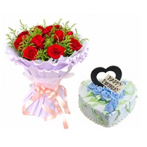 浪漫组合/爱与期盼: 11枝红玫瑰,黄英丰满 ;鲜奶蛋糕,奶油玫瑰花