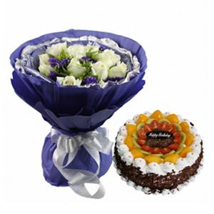 浪漫组合/可爱爸爸: 11枝白玫瑰,圆形鲜奶水果蛋糕组合  [包
