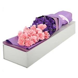 鲜花/温柔的笑脸: 19支粉色康乃馨  [包 装]:长方形高级包