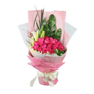 鲜花/感谢遇见:21枝桃红玫瑰 配材:1枝多头百合,其他高级配材点缀