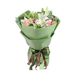 鲜花/悠悠我心: 5支白百合,12支戴安娜玫瑰  [包 装]: