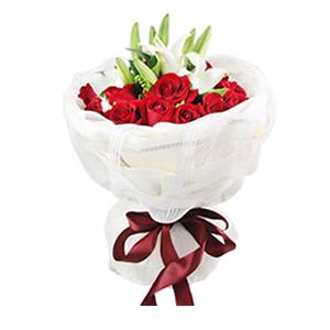 鲜花/小情歌: 19枝红玫瑰,2支香水白百合  [包 装]: