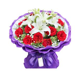 鲜花/等待幸福: 12枝红玫瑰,3枝多头白色香水百合,  [包
