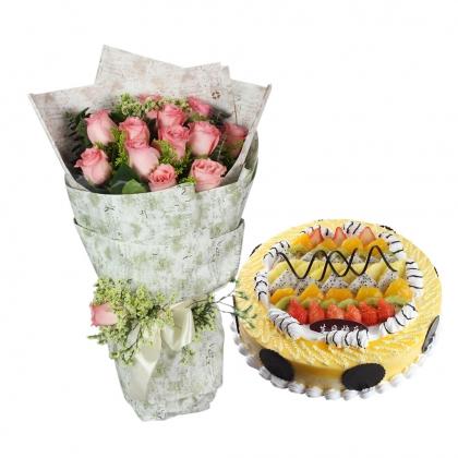 浪漫組合/此生不換: 12枝戴安娜玫瑰,蕾絲、尤加利、黃英、綠葉間插