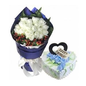 浪漫組合/一片傾心: 19枝白玫瑰,高山羊齒圍邊,火龍珠相襯;鮮奶蛋