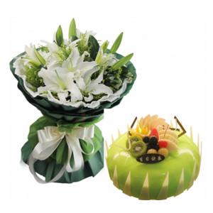 浪漫组合/良辰美景: 6枝多头白色香水百合,黄英间插;圆形水果蛋糕,