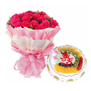 浪漫組合/愛意相隨: 33枝康乃馨(根據各地貨源使用桃紅色或者紅色康