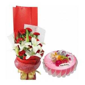 浪漫組合/感恩有你: 11枝紅色康乃馨,2枝多頭百合,黃鶯,春蘭葉間