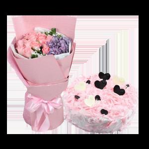 浪漫组合/亲爱的: 12枝戴安娜玫瑰,1枝紫色绣球,白色相思梅围边