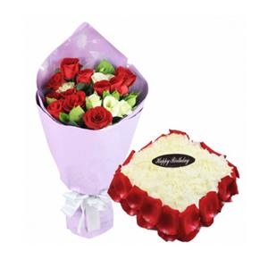 浪漫组合/心花路放: 11枝红玫瑰,5枝绿色多头桔梗,绿叶点缀;方形