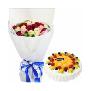 浪漫組合/同桌的你: 7支紅玫瑰、7支戴安娜玫瑰、7支香檳玫瑰間插,