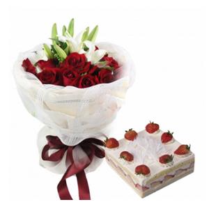 浪漫组合/爱情的温暖: 19枝红玫瑰,2支香水白百合,黄英、绿叶间插;