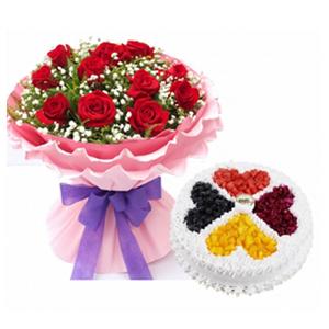 浪漫组合/倾心之恋: 11枝红玫瑰,满天星 黄莺丰满;圆形欧式水果蛋