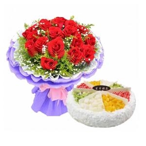 浪漫组合/相遇是缘: 21枝红玫瑰,黄莺,满天星;圆形欧式水果蛋糕,