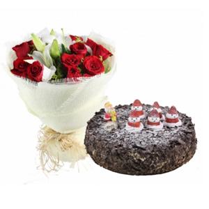 浪漫組合/圣誕組合-今生幸福: 11枝紅玫瑰,1枝多頭香水百合,黃鶯間插。圓形