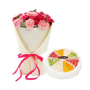 浪漫組合/謝謝您的愛: 21枝多色康乃馨(包括粉色,桃紅色),圓形歐式