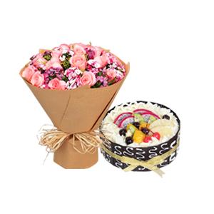浪漫组合/有你的世界: 19枝精品粉玫瑰搭配柔软香甜水果蛋糕  [包
