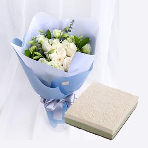 浪漫组合/最懂男神心: 19朵精品白玫瑰,经典慕斯蛋糕茶颜悦色  [