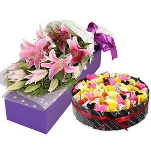 浪漫组合/一揽芳华: 9朵粉色香水百合,圆形欧式水果蛋糕  [包