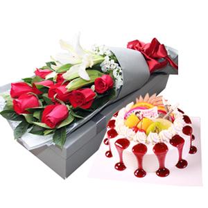 浪漫组合/花儿和少年: 11枝精品红玫瑰,1枝多头香水百合,欧式水果蛋