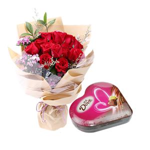 浪漫組合/德芙與玫瑰: 16枝精品紅玫瑰,德芙心語禮盒98g  [包