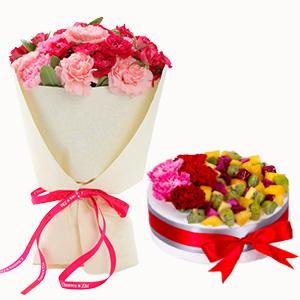 浪漫组合/感谢相伴: 21枝多色康乃馨搭配水果奶油蛋糕  [包 装