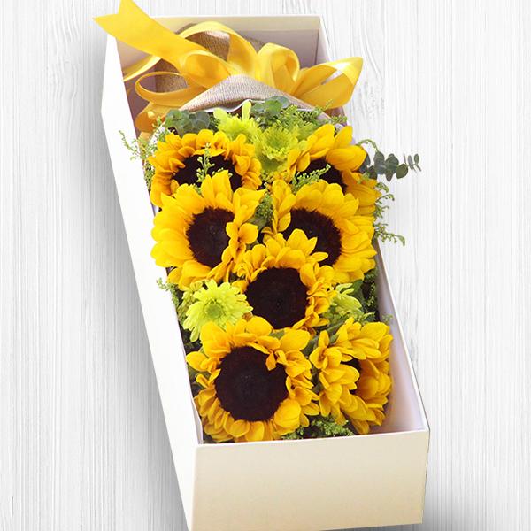 鲜花/恩重如山: 7朵太阳花  [包 装]:卡其色编织纹理哑光