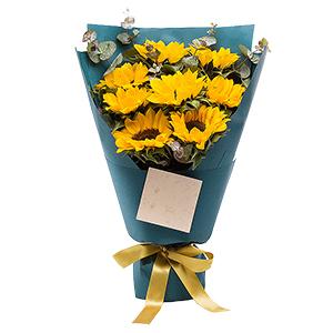 鲜花/虔诚的祝福: 8朵向日葵+尤加利叶点缀  [包 装]:精美