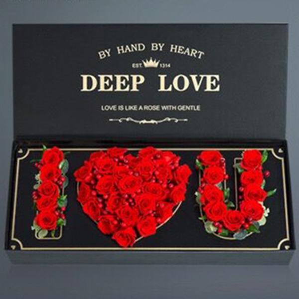 鮮花/與子偕老心愿盒:精品紅玫瑰網紅款 花 語:I LOVE YOU