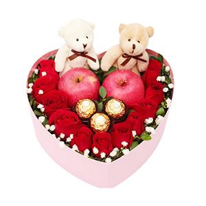 鲜花/爱的诺言: 11枝红玫瑰、2个苹果、2只小熊、3个巧克力单