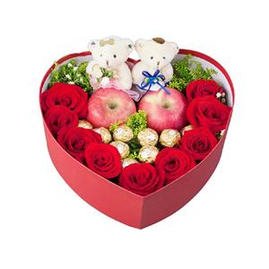 鲜花/平安夜的祝福:9枝玫瑰 两个小熊玩偶 两个苹果 9个费列罗巧克力
