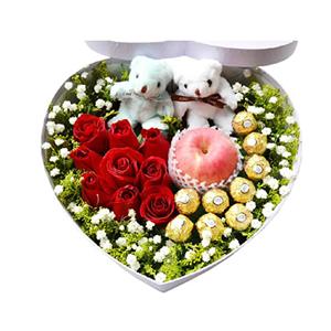 鲜花/手牵手: 9枝红玫瑰、9颗巧克力、1个苹果、2只小熊