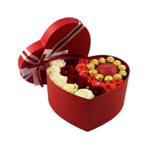 鮮花/相知相守:5枝白玫瑰,5枝紅玫瑰,7枝戴安娜玫瑰,11顆巧克力