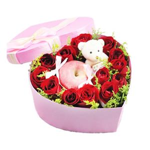 鲜花/守护爱:红玫瑰,苹果,玩具熊 花 语:爱一个人,也许撞了南