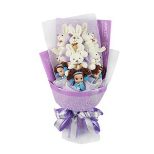 卡通花束/纯真年代(卡通花束): 6只白色长耳兔,3只迷糊娃娃。  [包 装]