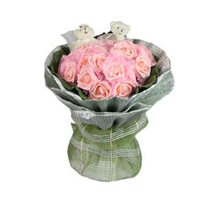 卡通花束/許你的幸福(卡通花束): 21枝粉色仿真花,2只婚紗熊,單獨包裝。