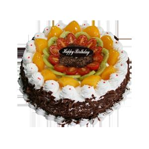 蛋糕/圈圈愛:巧克力碎圍邊,可口水果鋪面 祝 愿:祝你生日快樂,
