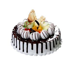 蛋糕/爱在巴黎:圆形欧式蛋糕,时令水果、巧克力装饰 包 装:购买蛋