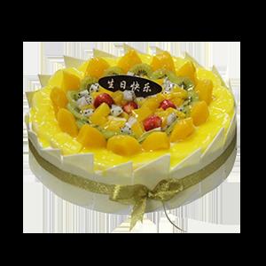 蛋糕/熱情仲夏:巧克力貼片+清脆可口水果鋪面 祝 愿:歡樂,尖叫,